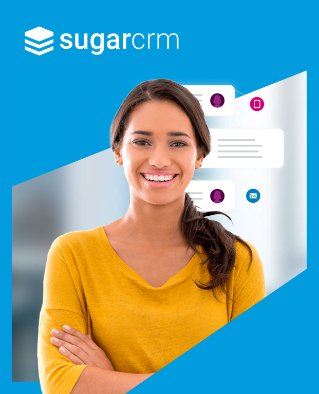 Woman on SugarCRM ad