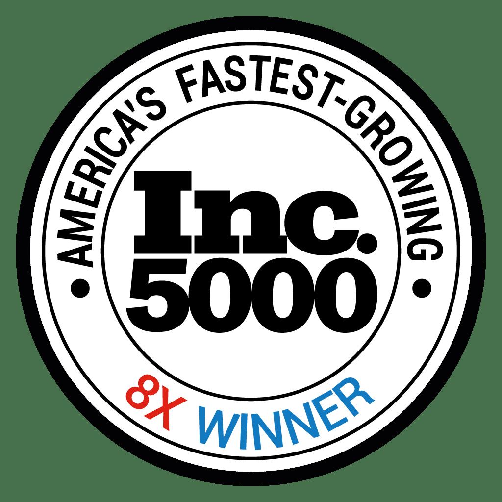 Inc. 5000 America's Fastest Growing 8x Winner award